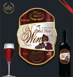 luxury golden wine label vector image