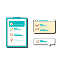 marked checklist on a clipboard and in browser vector image