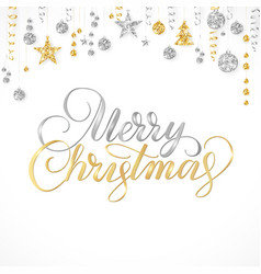 Merry christmas hand written lettering gold and vector