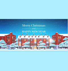 merry christmas happy new year poster with winter vector image