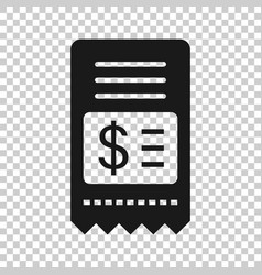 Money check icon in flat style checkbook on white vector