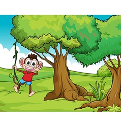 Monkey and trees vector