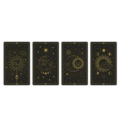 Moon and sun tarot cards mystical hand drawn vector