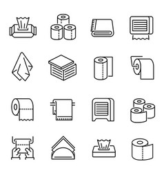 napkins and toilet paper linear icons set vector image