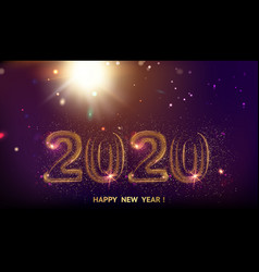new year 2020 composition with fireworks and vector image
