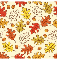 oak leaves and acorn seamless pattern vector image vector image