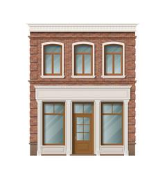 Old brick residential building facade vector