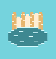 pixel icon in flat style french fries vector image
