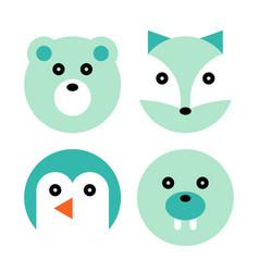 Polar animal cartoon set vector