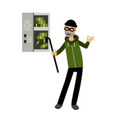 Professional burglar character in a mask opened a vector