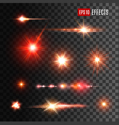 red shine lights flare effects and sparkles vector image