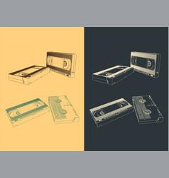 Retro video cassettes vector