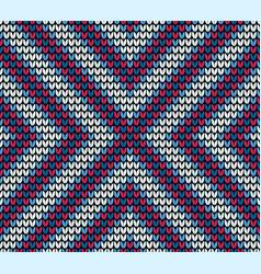 Seamless blue centre knitting pattern vector