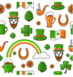 seamless pattern st patricks day on white vector image