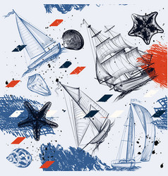 seamless wallpaper pattern with ships drawn vector image