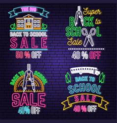 Set back to school sale neon design emblem vector