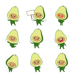 Set cute avocado cartoon characters vector