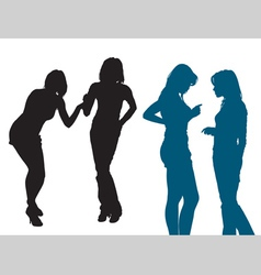 silhouettes women vector image