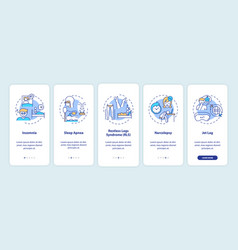 Sleep disorder types onboarding mobile app page vector