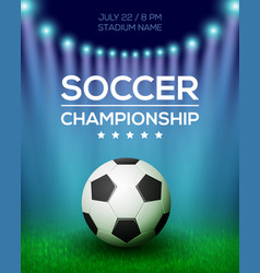 soccer championship poster design vector image