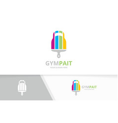 sport and brush logo combination gym and vector image