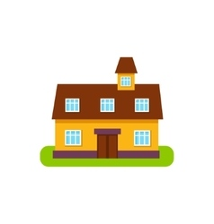 Suburban House Exterior Design With Attic Storey vector