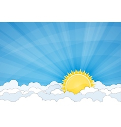 Sun and white clouds over blue sky vector image