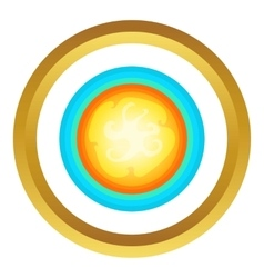 Sun in the sky icon vector