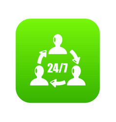 support 24 7 icon green vector image