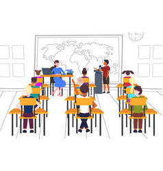 teacher with pupils sitting at desks looking at vector image