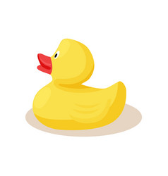 Toy rubber yellow duck with red beak icon vector