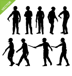 Traffic police silhouettes vector image