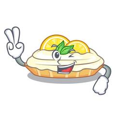 Two finger cartoon lemon cake with lemon slice vector
