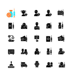vaccination and covid19 passport black glyph icons vector image