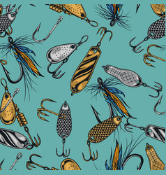 vintage fishing lures seamless pattern vector image