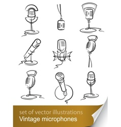 Vintage microphones vector