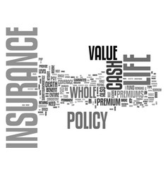 whole life insurance text word cloud concept vector image