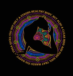 Woman Doing Cobra Pose Of Yoga And Mandala Design vector image