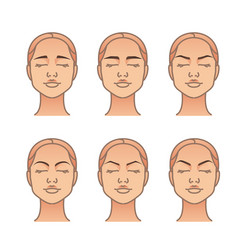 Woman face with different eyebrow forms vector