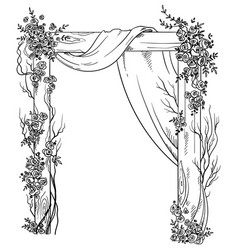 wooden wedding arch decorated with roses vector image