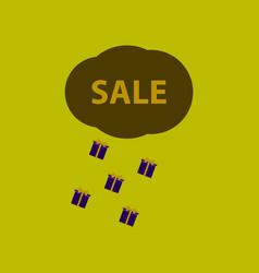 Flat icon of sale gift rain vector