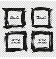 four square frames from black abstract textured vector image vector image