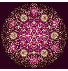 Gold-purple round floral vintage pattern vector image