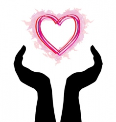 human hands caring heart vector image