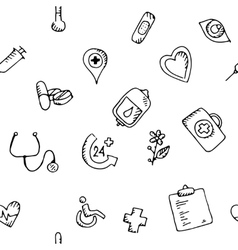 Seamless pattern medical icons set vector image vector image