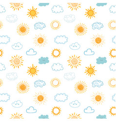 seamless pattern with hand drawn clouds and sun vector image