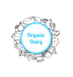 sketched milk products vector image