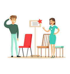 store seller showing chair assortment to man vector image vector image
