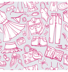 summer fashion seamless patternwoman weardoodle vector image