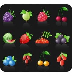 berries black icon set vector image